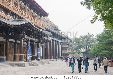 Shanxi, China -  Sept 17 2015: Visitor At Yungang Grottoes (unesco World Heritage Site). A Famous Hi