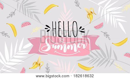 Spring Summer poster, banner in trendy 80s-90s Memphis style. Vector illustration, lettering and colorful design for poster, card, invitation. Easy editable for Your design. poster