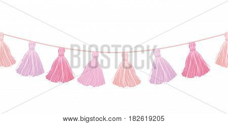 Vector Baby Girl Pink Hanging Decorative Tassels With Ropes Horizontal Seamless Repeat Border Pattern. Great for handmade cards, invitations, wallpaper, packaging, nursery designs. Surface pattern design.
