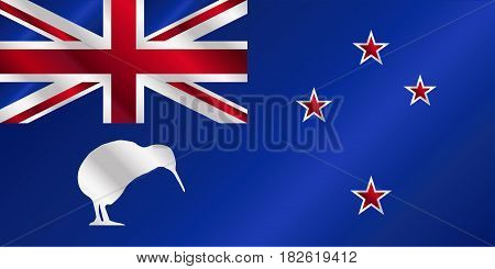 The flag of the country of New Zealand with the emblem of the kiwi