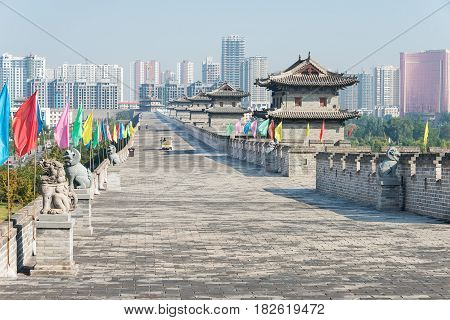 Shanxi, China -  Sept 23 2015: Datong City Wall. A Famous Historic Site In Datog, Shanxi, China.