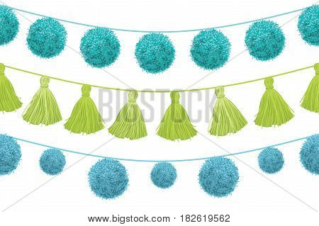 Vector Colorful Vibrant Birthday Party Pom Poms Set On Strings Horizontal Seamless Repeat Border Pattern. Great for handmade cards, invitations, wallpaper, packaging, nursery designs. Surface pattern design.