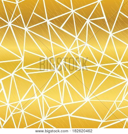 Vector Golden White Glowing Geometric Mosaic Triangles Repeat Seamless Pattern Background. Can Be Used For Fabric, Wallpaper, Stationery, Packaging. Surface pattern design.