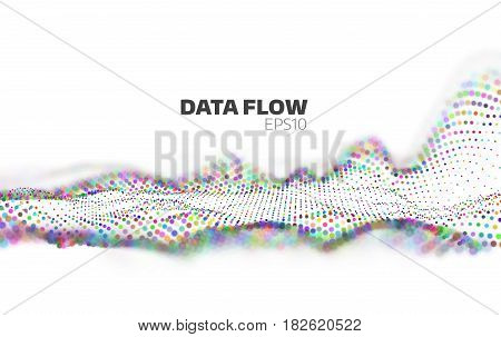 Data flow visualization. Information stream. Particles network banner