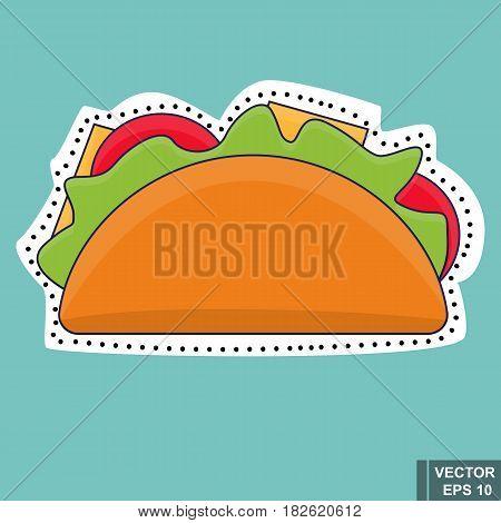 Tako. Fast Food. Tasty Food. A Sandwich. Sticker. For Your Design.