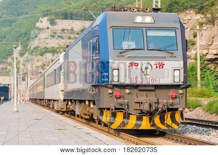 Shanxi, China - Sept 15 2015: China Railways Hxd3C Electric Locomotive In Niangziguan Railway Statio