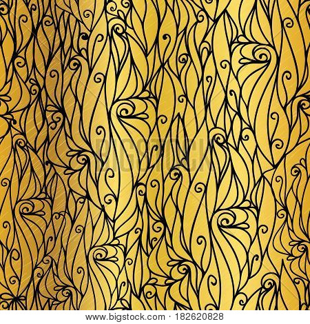 Vector Gold and Black Abstract Scrolls Swirls Seamless Pattern Background. Great for elegant gold texture fabric, cards, wedding invitations, wallpaper. Surface pattern design.