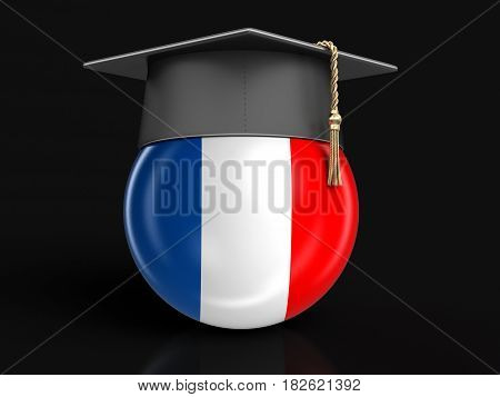 3d Illustration. Graduation cap and French flag. Image with clipping path