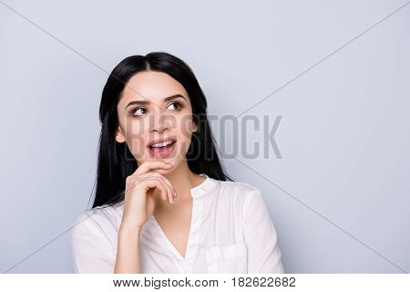 Close Up Portrait Of Beautiful Cute Young  Woman In Formalwear With Black Hair Fink About New Idea A