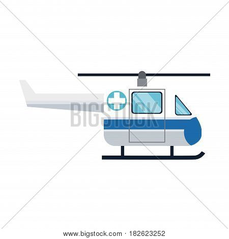 ambulance helicopter icon over white background. colorful design. vector illustration