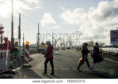KEHL GERMANY - FEB 3 2017: Driver point of view personal perspective at the pedestrians crossing zebra intersection at the semaphore - road security