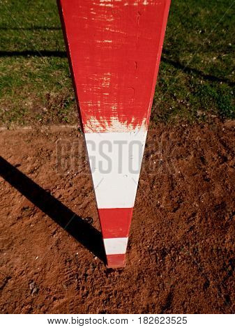 Detail Of Gate Frame . Outdoor Football Or Handball Playground, Light Red Crushed Bricks Surface On