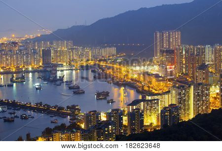 Hong Kong Tuen Mun downtown at night