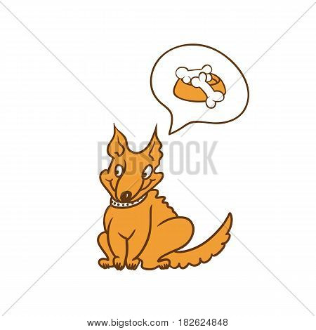 Vector humorous caricature character. Cute red dog sitting and dreaming about the bowl of delicious food