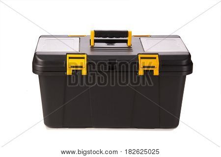 black plastic toolbox isolated on white. container