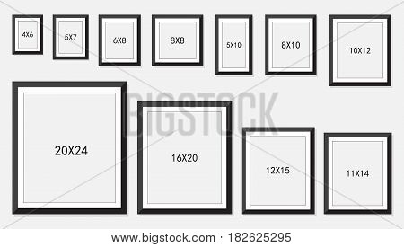 photo and picture frame size isolated on white background, vector illustration