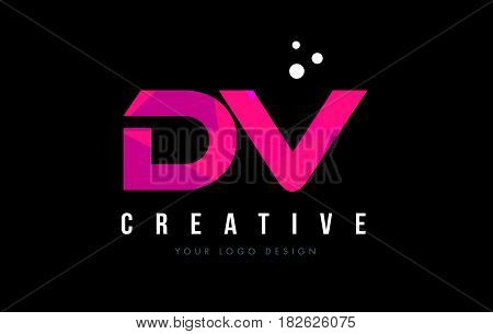 Dv D V Letter Logo With Purple Low Poly Pink Triangles Concept
