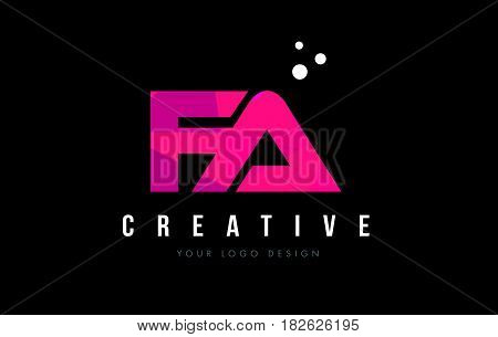 Fa F A Letter Logo With Purple Low Poly Pink Triangles Concept