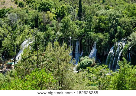 Wonderful View on Kravice Waterfall and Forest in Bosnia and Herzegovina