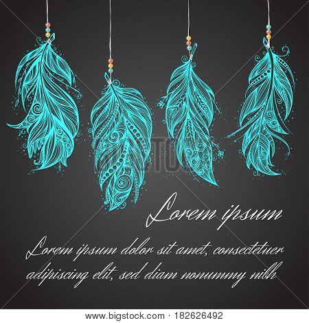 Card with Native American Indian talisman. Vector tribal feathers. Space for text