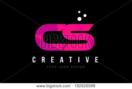 Cs C S Letter Logo With Purple Low Poly Pink Triangles Concept