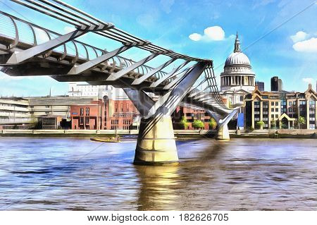 Colorful painting of cityscape view of St. Paul's Cathedral from Millennium Bridge, London, UK