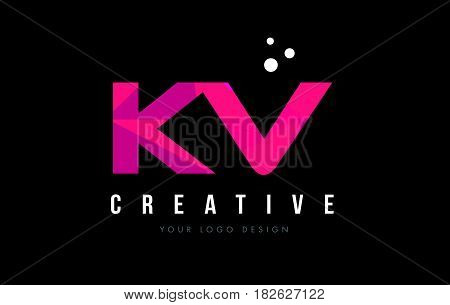 Kv K V Letter Logo With Purple Low Poly Pink Triangles Concept