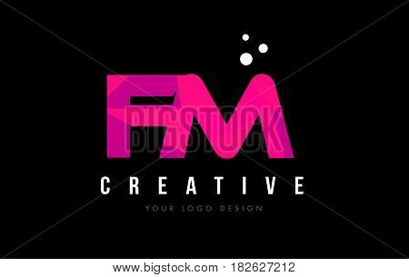 Fm F M Letter Logo With Purple Low Poly Pink Triangles Concept