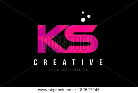 Ks K S Letter Logo With Purple Low Poly Pink Triangles Concept