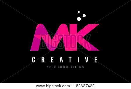 Mk M K Letter Logo With Purple Low Poly Pink Triangles Concept