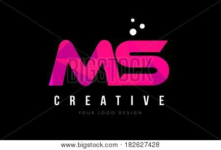 Ms M S Letter Logo With Purple Low Poly Pink Triangles Concept