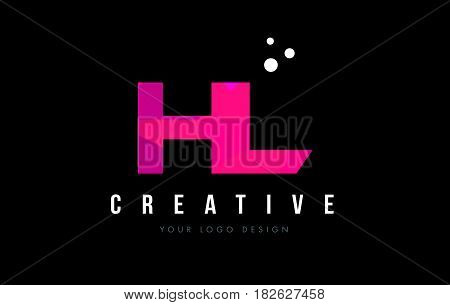Hl H L Letter Logo With Purple Low Poly Pink Triangles Concept