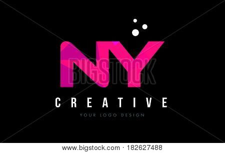 Ny N Y Letter Logo With Purple Low Poly Pink Triangles Concept