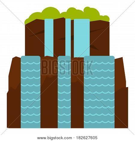 Iguassu Falls icon flat isolated on white background vector illustration