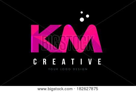 Km K M Letter Logo With Purple Low Poly Pink Triangles Concept