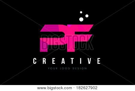 Pf P F Letter Logo With Purple Low Poly Pink Triangles Concept