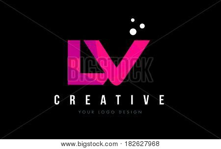 Lv L V Letter Logo With Purple Low Poly Pink Triangles Concept