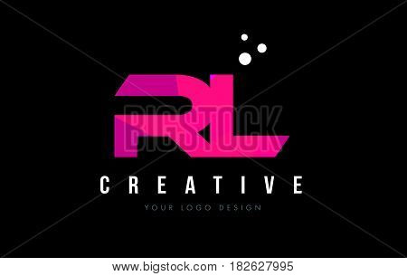 Rl R L Letter Logo With Purple Low Poly Pink Triangles Concept