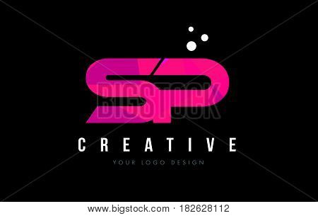 Sp S P Letter Logo With Purple Low Poly Pink Triangles Concept