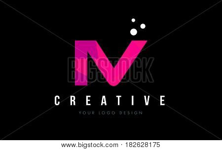 Iv I V Letter Logo With Purple Low Poly Pink Triangles Concept