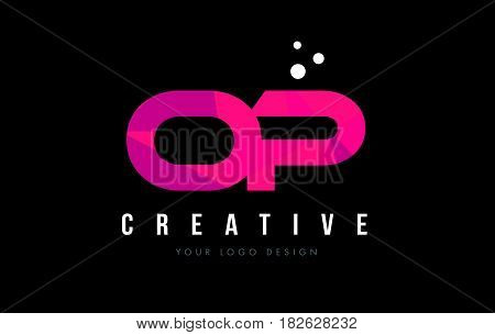 Op O P Letter Logo With Purple Low Poly Pink Triangles Concept