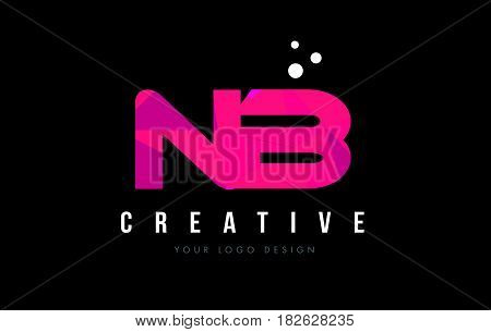 Nb N B Letter Logo With Purple Low Poly Pink Triangles Concept