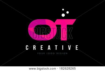Ot O T Letter Logo With Purple Low Poly Pink Triangles Concept