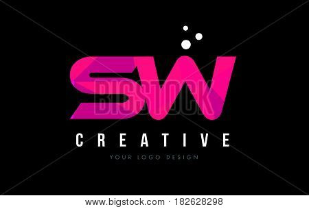 Sw S W Letter Logo With Purple Low Poly Pink Triangles Concept