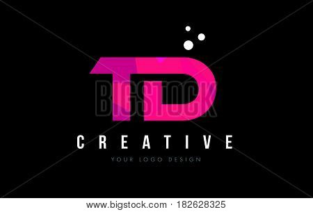 Td T D Letter Logo With Purple Low Poly Pink Triangles Concept