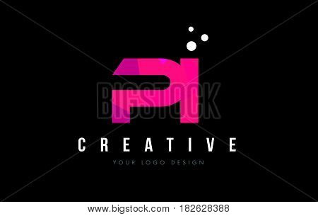 Pi P I Letter Logo With Purple Low Poly Pink Triangles Concept