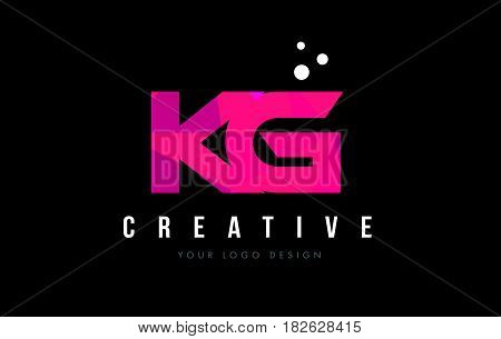 Kg K G Letter Logo With Purple Low Poly Pink Triangles Concept
