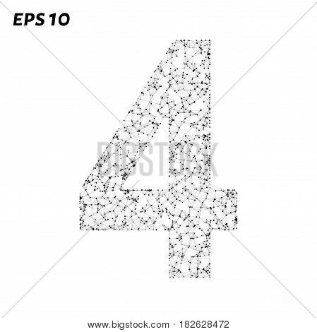 The Letter 4 Consists Of Points, Lines And Triangles. Vector Illustration.