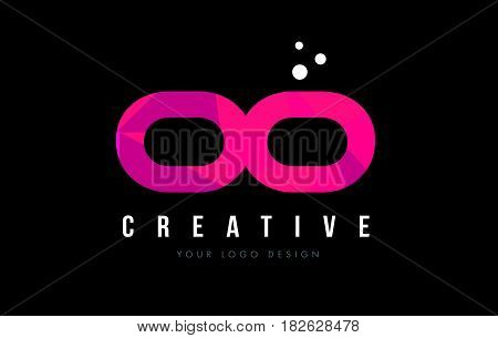 Oo O Letter Logo With Purple Low Poly Pink Triangles Concept