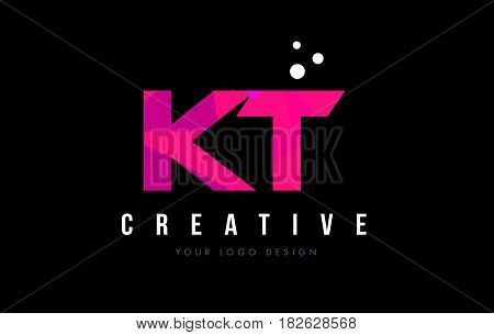 Kt K T Letter Logo With Purple Low Poly Pink Triangles Concept